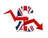 Great Britain Pound Symbol and Red Arrow Royalty Free Stock Photo