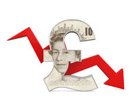 Great Britain Pound Symbol and Red Arrow Stock Photography