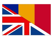 Great Britain and Romania flags royalty free illustration