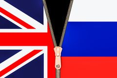 Great Britain and Russia, crisis partnership concept. 3D rendering. Great Britain and Russia, crisis partnership concept Stock Photos