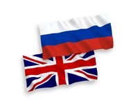 Great Britain and Russia flags. Great Britain and Russian flags isolated on white background. Vector illustration of the United Kingdom und Russia waving flags vector illustration