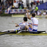 Great Britain's Gold. Bosbaan, Amsterdam, Netherlands - 23 July 2011: Peter Chambers and Kieren Emery win gold in a world record time of 6:26.90 at the world Stock Image