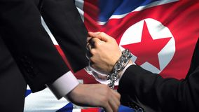 Great Britain sanctions North Korea chained arms, political or economic conflict. Stock footage stock video