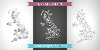 Great Britain set of grey and silver mosaic 3d polygonal maps Royalty Free Stock Photos