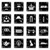 Great Britain set icons, grunge style Royalty Free Stock Photo