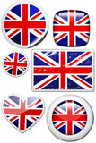 Great Britain - Set of stickers and buttons. Glossy and colorful stickers with reflection set Royalty Free Stock Images