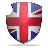 Great Britain shield. Flag of Great Britain on shield Stock Photos