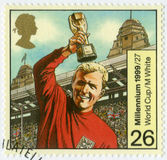 GREAT BRITAIN - 1999: shows Robert Frederick Chelsea Bobby Moore 1941-1993, 1966 World Cup Soccer Champions. GREAT BRITAIN - CIRCA 1999: A stamp printed in Great Stock Photography