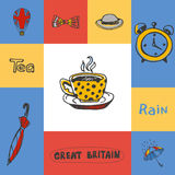 Great Britain Squared Doodle Vector Concept. Great Britain checkered concept in national colors. Five o'clock tea, bowler hat, bow tie, rain, umbrella, alarm Stock Photos
