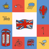 Great Britain Squared Doodle Vector Concept. Great Britain checkered concept in national colors. Flag, telephone box, five o'clock tea, bus, lantern, watch Royalty Free Stock Photo