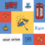 Great Britain Squared Doodle Vector Concept. Great Britain checkered concept in national colors. Umbrella, telephone box, cylinder hat, Union Jack, five o'clock Stock Image