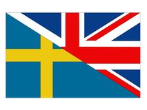 Great Britain and Sweden flags vector illustration
