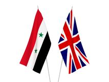 Great Britain and Syria flags. National fabric flags of Great Britain and Syria isolated on white background. 3d rendering illustration royalty free illustration