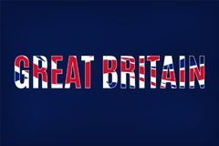 Great Britain text with waving United Kingdom flag. Great Britain text with United Kingdom flag vector illustration