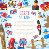 Great Britain travel card template with famous British symbols Stock Image