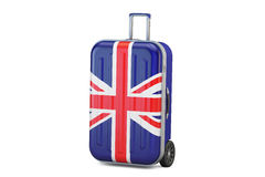 Great Britain travel concept, suitcase with UK flag. 3D  Stock Image