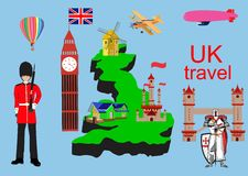 Great Britain travel symbols and design. England, London, travel UK. Set of color icons. Vector illustration Stock Photography