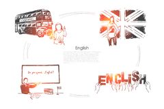 Great Britain traveling, british culture exploration, foreign study, citizenship exam, hands holding letters banner. English language learning concept sketch royalty free illustration