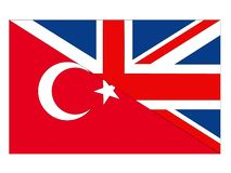 Great Britain and Turkey flags vector illustration