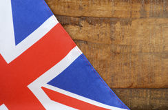 Great Britain UK Union Jack Flag. Against dark distressed recycled wood background stock photography