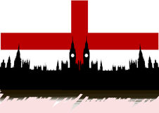 Great Britain. Union Jack with Houses of the Parliament silhouette on - isolated vector illustration Stock Illustration