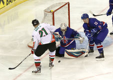 Great Britain vs. Hungary IIHF World Championship ice hockey mat Stock Images