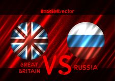 Great Britain VS Russia round flags. Great Britain VS Russia conflict. Round flags on dark red background. Cold war illustration Royalty Free Stock Photos