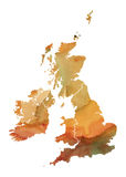 Great Britain Watercolor Map Stock Photo