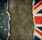 Great Britain withdrawal from European union brexit concept. European union and Great Britain flags on cardboard pieces Royalty Free Stock Photography