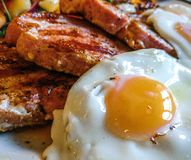 Great British food. Gammon steak and eggs Royalty Free Stock Photos