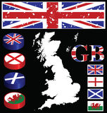 Great Briton. Collection of buttons flags map Stock Image