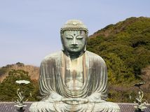 Great Bronze Buddha in Kamakura. Bronze Buddha in Kamakura is the biggest ancient metal stature in Japan Royalty Free Stock Photos