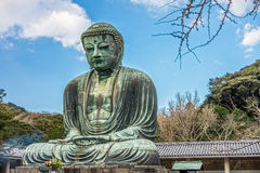 The Great Buddha of Kamakura is a monumental outdoor bronze statue of Amida Buddha Royalty Free Stock Image