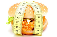 Great burger and measuring tape Royalty Free Stock Image