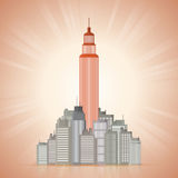 Great Business Empire. Vector illustration of business tower in the middle of shorter buildings Stock Photography