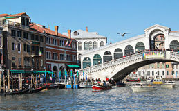 Great Canal with Rialto bridge . Venice. Stock Images