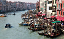 Great canal in Venice from top of Rialto bridge Royalty Free Stock Images