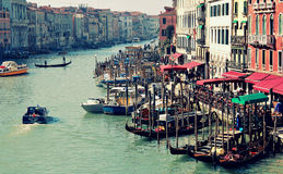 Great canal in Venice from top of Rialto bridge Stock Photo