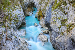 Great canyon of Soca river, Slovenia. Great canyon of Soca river (Slovenia Royalty Free Stock Photos