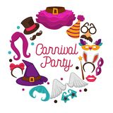 Great carnival party advertisement banner with costume accessories inside circle isolated vector illustrations on white Royalty Free Stock Photography
