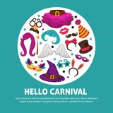 Great carnival party advertisement banner with costume accessories inside circle isolated vector illustrations on white. Background. Festive outfit elements for Stock Photos