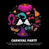 Great carnival party advertisement banner with costume accessories inside circle isolated vector illustrations on white. Background. Festive outfit elements for Royalty Free Stock Images