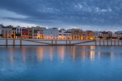 Sevilla in Spain, Night view of the fashionable and historic districts of Triana. Seville, Spain, Night view of the fashionable and historic districts of Triana stock photography