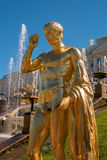 Great cascade. It consists of many fountains and is decorated with bronze gilt sculptures. Petergof, St. Petersburg Royalty Free Stock Photography