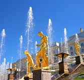 Great cascade. It consists of many fountains and is decorated with bronze gilt sculptures. Petergof, St. Petersburg Stock Photo