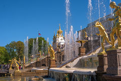 Great cascade. It consists of many fountains and is decorated with bronze gilt sculptures. Petergof, St. Petersburg. Great cascade. It consists of many fountains Royalty Free Stock Image