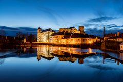 The great castle in Jindrichuv Hradec at night stock images