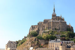 The great castle of Mont St-Michel. In France Royalty Free Stock Photos
