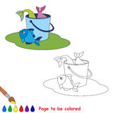 Great catch of fish. Bucketful, bucket, pail with good fish haul. Kid summer game. Coloring book. Page to be color.  Summer outdoor games for children Stock Photos