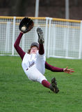 Great Catch High School Baseball Player Royalty Free Stock Images